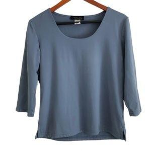 Linda Leal Blue Stretch 3/4 Sleeve Blouse